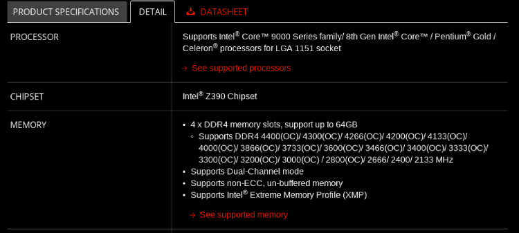 Motherboard Specification